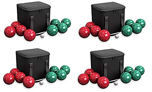 Hey! Play! 80-76090 Bocce Ball Set- Outdoor Family Bocce Game for Backyard, Lawn, Beach & More- 4 Red & 4 Green Balls, Pallino & Carrying Case (Fоur Расk)