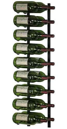 VintageView 18 Bottle Wall Mounted Metal Hanging Magnum Wine Rack (2 Deep - Black)