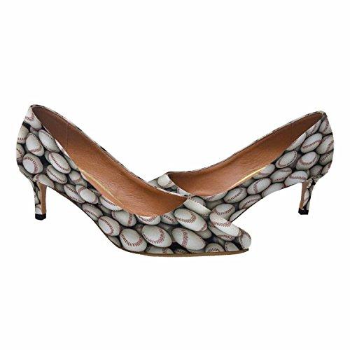 InterestPrint Womens Low Kitten Heel Pointed Toe Dress Pump Shoes Baseballs Background Multi 1 tANJP