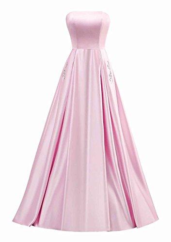 Yinyyinhs Bal Satin Perles Bustier Femmes Robe De Soirée Longues Robes Formelles De Rose De Poche