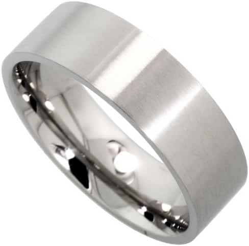 Surgical Stainless Steel 8mm Wedding Band Thumb Ring Comfort-Fit Matte Finish, sizes 8 - 15