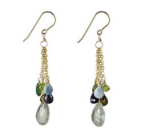 Moss Aquamarine and Peridot Waterfall Fading Chain Dangles on 14K Gold Filled French Earwire (14k Collection Waterfall)