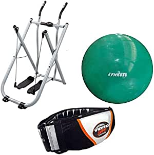 Fitness World Air Walker Glider Fitness Exercise Machine, Silver,With Yoga ball World Fitness green 75 cm,With Vibro Shape Slimming Massage Belt