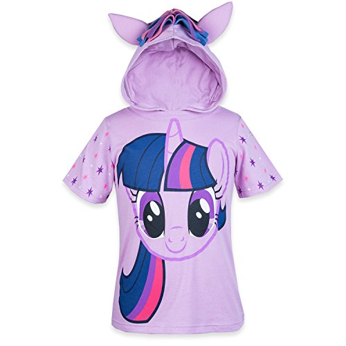 My Little Pony Hooded Shirt - Rainbow Dash, Twilight Sparkle, Pinky Pie - Girls (Twilight Sparkle, 6X) -