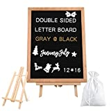 JMMD Rustic Wood Frame Felt Letter Board 12 x 16 inches, Changeable Message Letter Board with 409 White & Gold Additional Symbols & Emojis, Canvas Bag, Scissors (Color: Black 12*16)