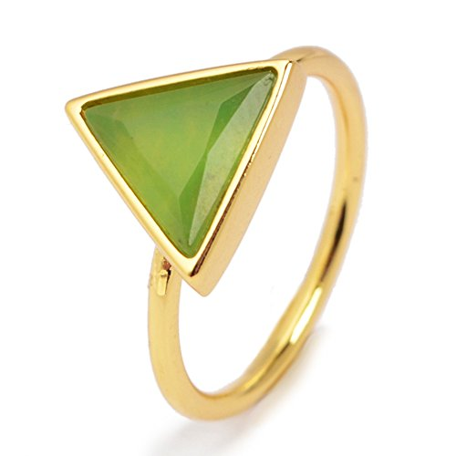 ZENGORI Handmade Gold Plated Bezel Triangle Natural Australia Jade Faceted Ring Size - Australia Delivery Free To