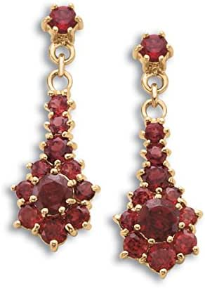 4-Carat Genuine Garnet Cluster Dangle Earrings