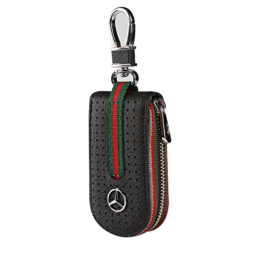 Leather Car Smart Key Chain Universal Key Holder Bag Black Zipper Case Cover Wallet Bag Shell Fob Ring (Benz)