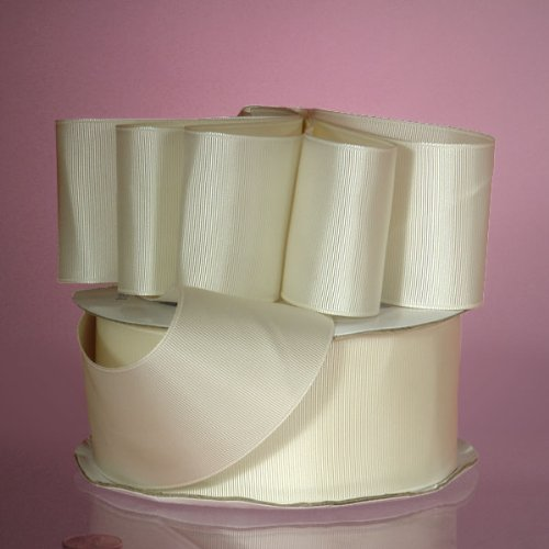 (50 Yard/Roll Solid Grosgrain Ribbon 5/8 Inch, Antique White)