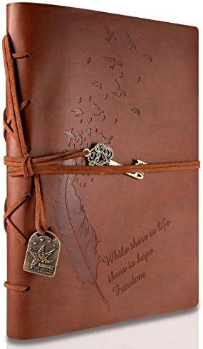 Notizbuch Vintage A5, Leder Tagebuch Notizbuch, Rymall Notebook Journal Reisetagebuch Sketchbook Klassische Vintage-Stil PU Cover, Nachfuellbar Reisetagebuch, Braun
