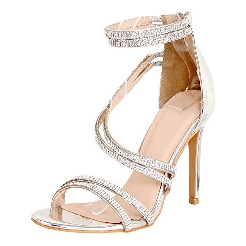 Silver Strappy Heels (Guilty Shoes Women Sexy Metallic Ankle Strap Zip Up Dress - Open Toe Stiletto Sandals Sandals, Silverv3 PU, 9 B(M) US)