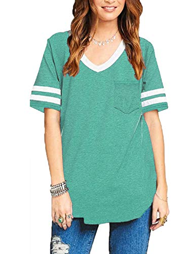 Sweetnight Womens Summer Short Sleeve Baseball Tee Color Block Loose Sport T Shirt Casual Tunic Tops with Pockets (Green, ()