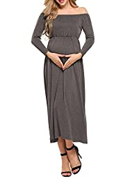 ACEVOG Women's Cowl Neck Off Shoulder Long Sleeve Maxi Maternity and Nursing Dress