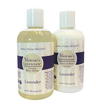 Victoria's Lavender All Natural Lavender Hand and Body Lotion and Organic Lavender Body Wash Gift Set – Sulfate Free, Paraben Free, Handmade in USA