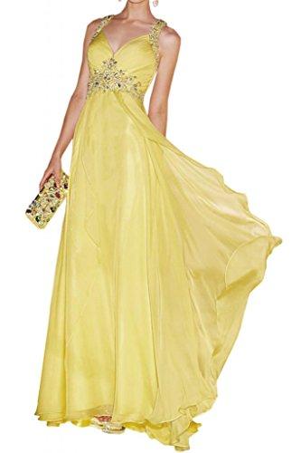 Toscana novia adorable rueckenfrei vestidos de noche largos de la gasa con fuerza la bola de baile del partido del vestido señoras de la moda amarillo