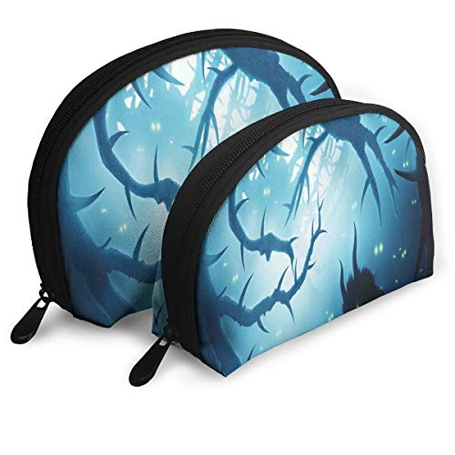 Shell Shape Makeup Bag Set Portable Purse Travel Cosmetic Pouch,Animal With Burning Eyes In The Dark Forest At Night Horror Halloween Illustration,Women Toiletry Clutch -
