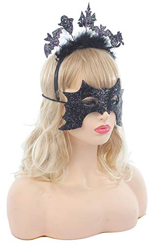 - Women Halloween Novelties Headband Hair Accessories Masquerade Venetian Mask Cat Cutout Witch Bat Feather Costume Accessories (1 Headband & 1 Mask)