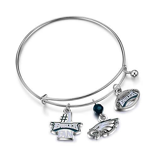 (NFL Philadelphia Eagles Three Charm Logo Bracelet)