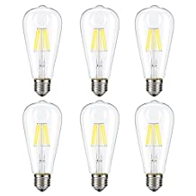 Dimmable Edison LED Bulb, Kohree 6W Vintage LED Filament Light Bulb, 4000K Daylight (Neutral White), 60W Incandescent Equivalent, E26 Base Lamp for Restaurant,Home,Reading Room,Office, Pack of 6