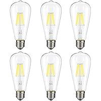 6-Pack Kohree 6W Vintage LED Filament Light Bulb, 60W Equivalent, E26 Base Lamp for Restaurant,Home,Reading Room (Daylight White, NOT Soft/Warm White)