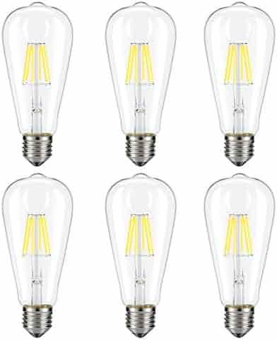 Dimmable Edison LED Bulb, Kohree 6W Vintage LED Filament Light Bulb, 4000K Daylight, 60W Incandescent Equivalent, E26 Base Lamp for Restaurant,Home,Reading Room,Office, Pack of 6