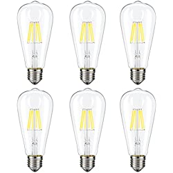 Dimmable Edison LED Bulb, Daylight White 4000K, Kohree 6W Vintage LED Filament Light Bulb, 60W Equivalent, E26 Base Lamp for Restaurant,Home,Reading Room, 6 Pack(Daylight White, NOT Soft/Warm White)