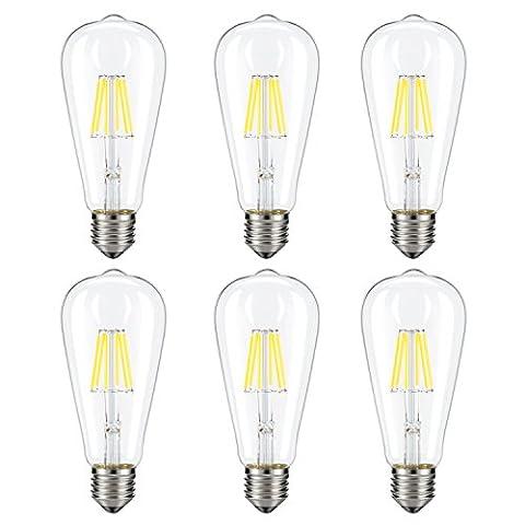 Dimmable Edison LED Bulb, Kohree 6W Vintage LED Filament Light Bulb, 4000K Daylight (Neutral White), 60W Incandescent Equivalent, E26 Base Lamp for Restaurant,Home,Reading Room,Office, Pack of (60w Led Edison Bulb)