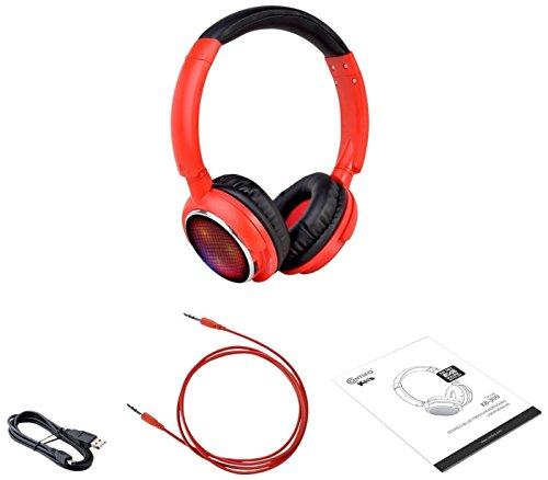Contixo KB-300 Kid Safe 85DB Over the Ear Wireless Bluetooth LED Headphone with Volume Limiter, Built-in Microphone, Micro SD, FM Stereo Radio (Red+Black) - Best Gift