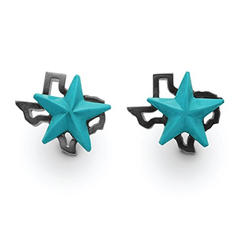 Sterling Silver and Turquoise Texas Star Cufflink by Eklektic Jewelry Studio