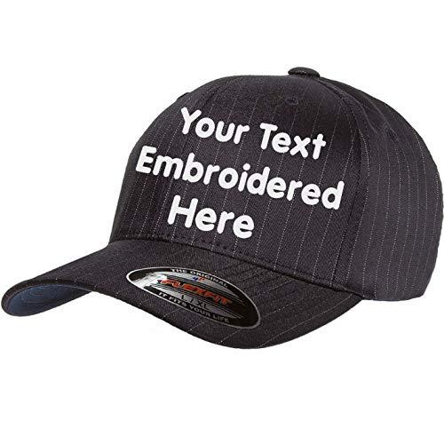 Custom Hat Flexfit 6195P Pinstripe Cap. Embroidered. Your Own Text Curved Bill (Flexfit Pinstripe 6159P S/M, Black/White Pinstripe)