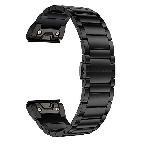 LDFAS Fenix 5X Plus Band, Titanium Metal Quick Release Easy Fit 26mm Watch Bands Compatible for Garmin Fenix 5X/5X Plus/3/3HR Smartwatch, Black