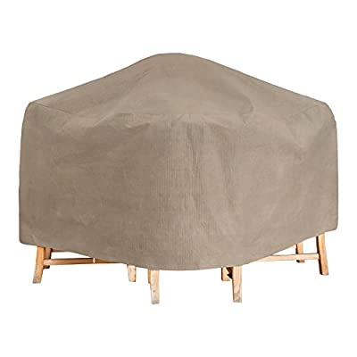 "Budge English Garden Patio Bar Table Cover, Tan Tweed (50"" Diameter x 42"" Drop)"