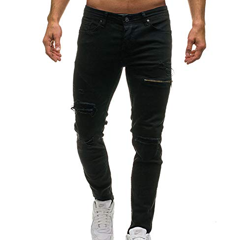 Ripped Hole Jeans Pants para Hombres, Mens Skinny Denim Stylish Zipper Decoration Jeans Negro