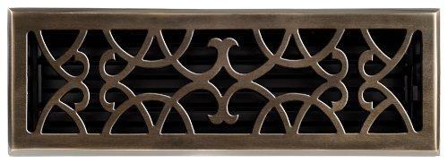 Brass Elegans 120F AB Solid Cast Brass Victorian 4-Inch by 14-Inch Floor Register, Antique Brass Finish Model