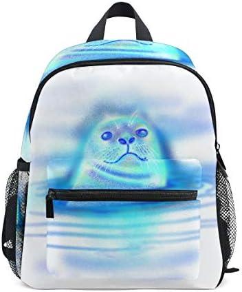 青いかわいいアシカ幼児バックパックブックバッグミニショルダーバッグ1-6年旅行男の子女の子子供用チェストストラップホイッスル