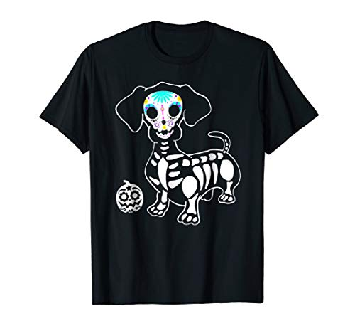 Halloween Pumpkin Dachshund Skeleton Shirt for Wiener Lovers -