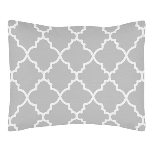 Sweet Jojo Designs Gray and White Trellis Pillow Sham