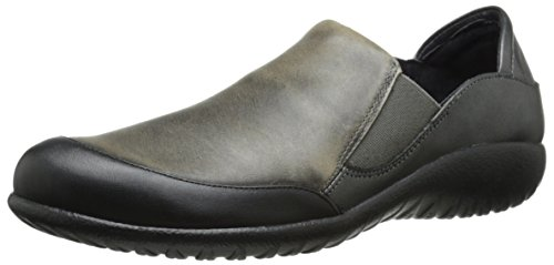 Naot Women's Moana Flat, Black Raven Leather/Vintage Gray Leather/Metallic Road Leather, 39 EU/7.5-8 M US