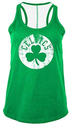NBA Boston Celtics Women's Baby Jersey Racer Back Tank with Contrasting Back Yoke, Large, Kelly Green
