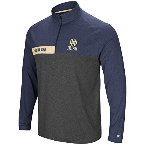 Colosseum Men's NCAA-No Mercy-1/4 Zip Pullover Windshirt-Notre Dame Fighting Irish-Heather Navy-XL ()