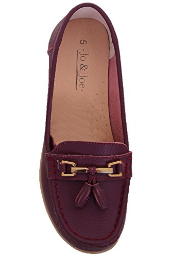 FANTASIA BOUTIQUE ® Ladies Leather Slip On Moccasins Comfortable Flat Tassel Low Heel Loafer Shoes Plum 8wDhagRitf
