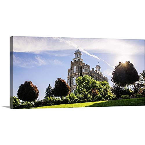 GREATBIGCANVAS Gallery-Wrapped Canvas Entitled Logan Utah Temple, Sun Flare Over The Trees, Logan, Utah by Scott Jarvie 60
