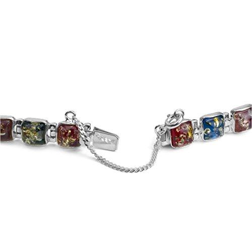 Bleu/rouge/violet-argent Sterling et ambre Bracelet contemporain carré 18 cm