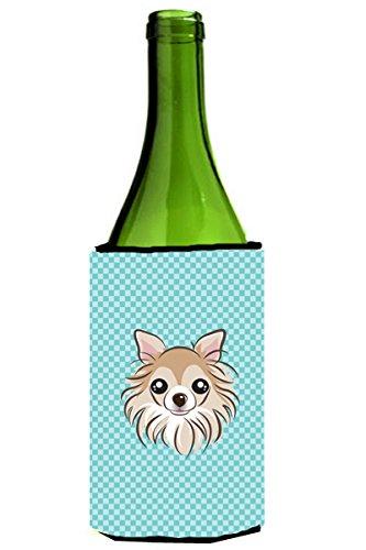 Checkerboard Blue Chihuahua Wine Bottle Beverage Insulator Hugger BB1189LITERK (Wine Chihuahua)