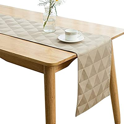 "SUNLOVO Table Runner,Geometric Triangle Jaquard Woven Dresser Scarf Heat Resistant Fabric Table Top Decoration for Dining Table,Tan,13x108 inches,1pc - Premium Quality: Designed with a wrinkle resistant,heat resistant,easy clean and help protect your table and furniture. Enhance your Home:Smooth and elegant Jacquard polyester table runner brighten up your table.Perfect for any event from causal family dinners to sophisticated soirees. Sizes and Color:13""x108"" , Tan - table-runners, kitchen-dining-room-table-linens, kitchen-dining-room - 41Tm3I92VwL. SS400  -"