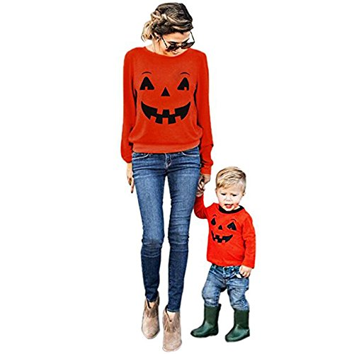 Sibylla Mom & Baby Halloween Pumpkin Print Long Sleeve Sweatshirt Pullover Tunic Tops Blouse Shirt Parent-Child Halloween Costume