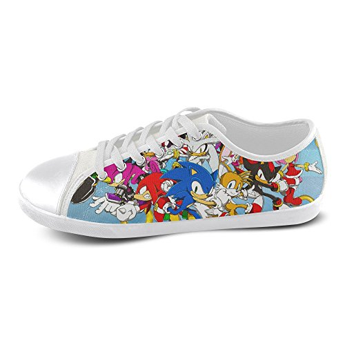 Show-shoes Custom Sonic the Hedgehog and Friends Lace-up Flats Canvas Shoes Soft Comfortable Sneakers for Adult Men (Model016) 12US (Sonic The Hedgehog Sneakers)