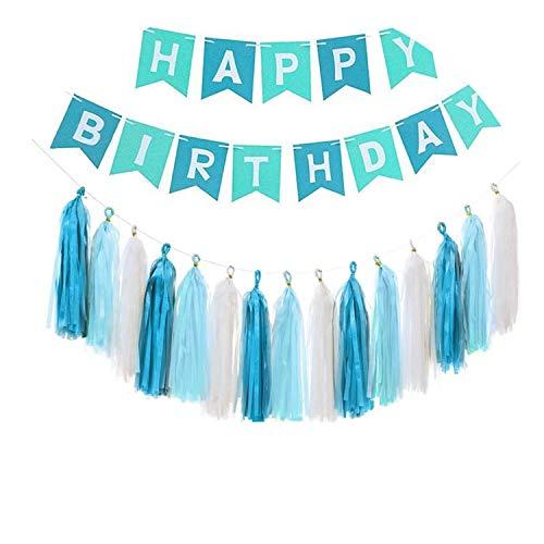 Noon-Sunshine decorative-plaques Happy Birthday Banner Tissue Paper Tassel Bunting Garland Pom Pomsation,Style 16 -