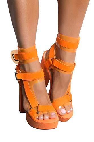 AKIRA Women's PVC Utility Buckle Strappy Chunky Super High Heel Platform Pleaser Sandals-NEON ORANGE_9 ()