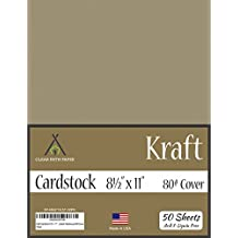 Kraft Brown Cardstock - 8.5 x 11 inch - 80Lb Cover - 50 Sheets